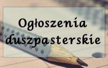 Ogłoszenia duszpasterskie – 11 listopada 2018r.
